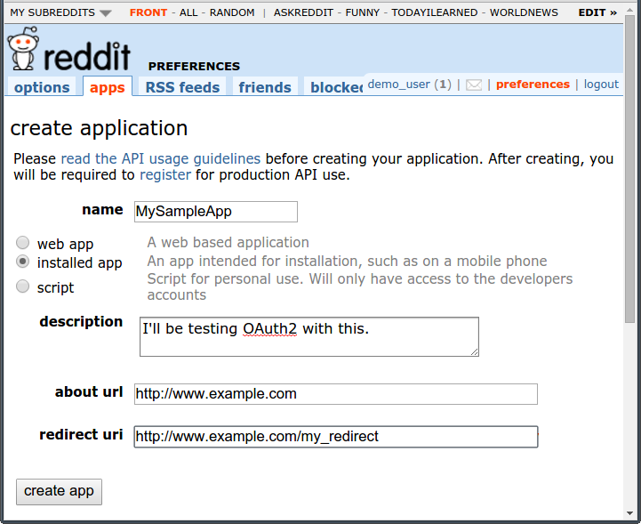app registration form